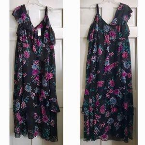 Printed Ruffle Maxi Dress